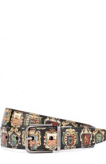 Кожаный ремень с принтом с металлической пряжкой Dolce & Gabbana