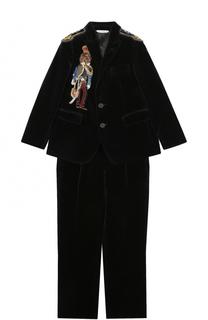 Костюм из вельвета с аппликациями и декором Dolce & Gabbana