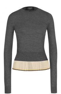 Шерстяной пуловер с шелковой плиссированной оборкой Rochas
