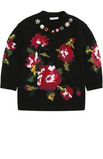 Вязаный свитер с цветочным принтом и декором Dolce & Gabbana