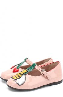 Лаковые туфли на ремешке с аппликацией Gucci