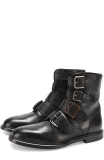 Кожаные ботинки Marsala с ремешками Dolce & Gabbana