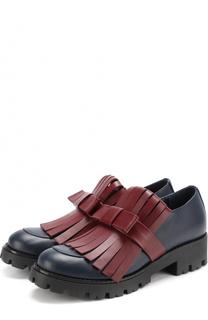 Кожаные ботинки с бахромой и перемычкой Marni