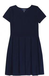 Хлопковое платье с защипами на юбке Polo Ralph Lauren