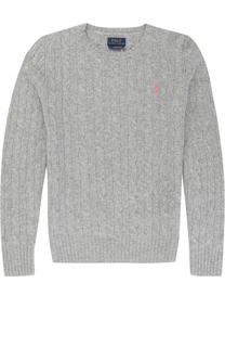 Пуловер фактурной вязки из шерсти и кашемира с логотипом бренда Polo Ralph Lauren
