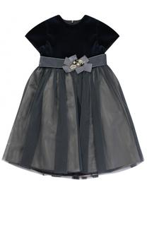 Многослойное платье с поясом на завышенной талии и бантом с декором Caf