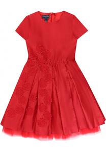 Шелковое платье с пышной юбкой и цветочной аппликацией Oscar de la Renta