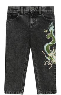 Джинсы с декоративными потертостями и вышивкой Gucci