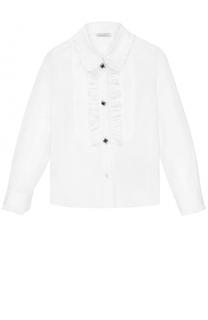 Хлопковая блуза с оборками и декоративными пуговицами Dolce & Gabbana