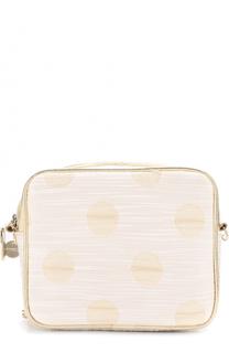 Текстильная сумка с принтом и кожаной отделкой на цепочке Simonetta