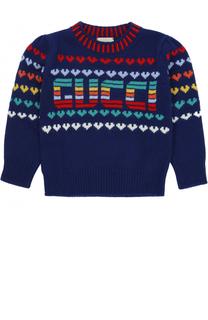 Вязаный свитер из шерсти и кашемира с принтом Gucci