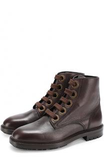 Кожаные ботинки Marsala на шнуровке Dolce & Gabbana