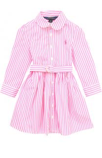Хлопковое мини-платье в полоску с поясом Polo Ralph Lauren