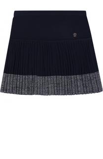 Вязаная мини-юбка с плиссированной вставкой I Pinco Pallino