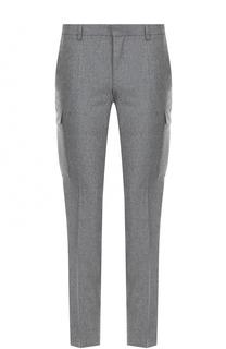 Шерстяные брюки прямого кроя с накладными карманами BOSS
