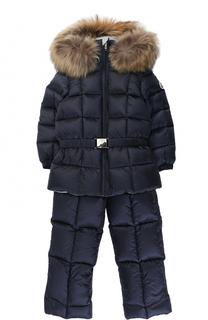 Пуховый комплект из комбинезона и куртки с меховой отделкой Moncler Enfant