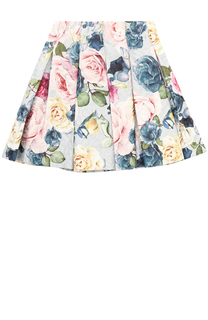 Мини-юбка с защипами и принтом Monnalisa