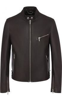 Кожаная куртка с воротником-стойкой Versace