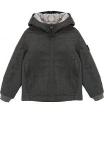 Текстильная куртка с капюшоном и нашивкой Stone Island