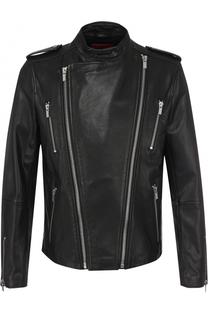 Кожаная куртка с косой молнией HUGO