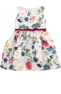 Мини-платье с принтом и поясом из велюра Monnalisa