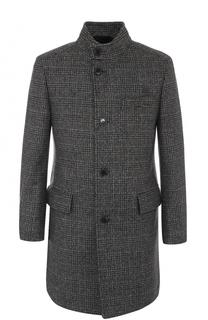 Шерстяное пальто в клетку с воротником-стойкой HUGO