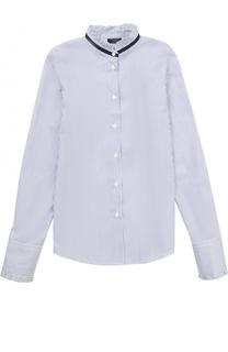 Хлопковая блуза с контрастной отделкой и оборками Dal Lago