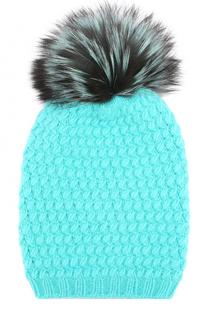 Кашемировая шапка фактурной вязки с меховым помпоном William Sharp