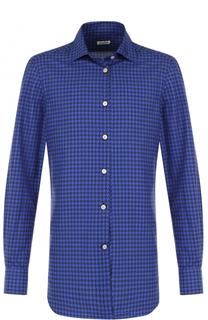 Хлопковая рубашка с узором с воротником кент Kiton