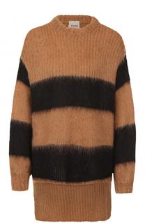 Пуловер с открытым плечом и удлиненной спинкой Nude