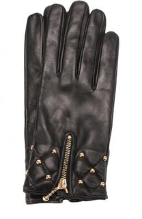 Кожаные перчатки с молниями и металлической отделкой Sermoneta Gloves