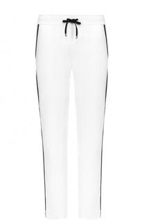 Хлопковые брюки с контрастными лампасами и эластичным поясом Escada Sport