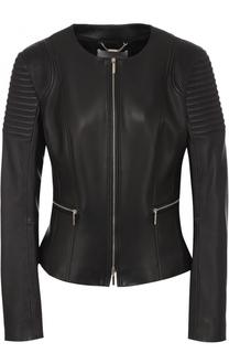 Приталенная кожаная куртка с круглым вырезом BOSS
