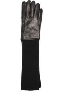 Удлиненные кожаные перчатки с текстильной отделкой Sermoneta Gloves