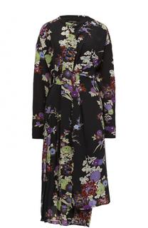 Шелковое платье асимметричного кроя с поясом Isabel Marant