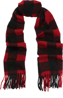 Шерстяной шарф в клетку с бахромой Dsquared2