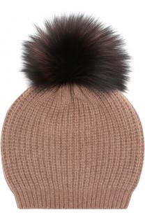 Кашемировая вязаная шапка с меховым помпоном William Sharp
