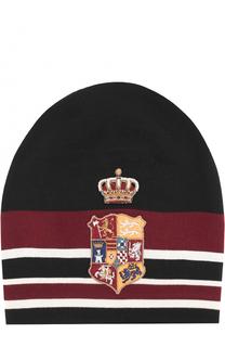 Шерстяная вязаная шапка с вышивкой Dolce & Gabbana