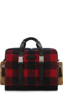 Текстильная дорожная сумка с отделкой из замши Dsquared2