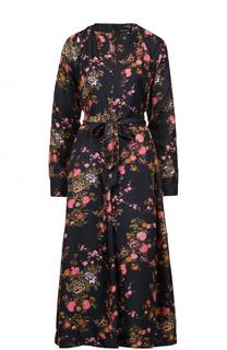 Шелковое платье-миди с принтом и поясом Isabel Marant