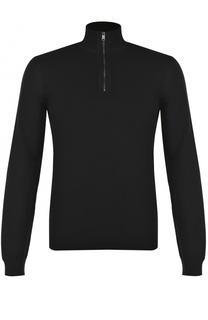 Шерстяной свитер с воротником на молнии BOSS