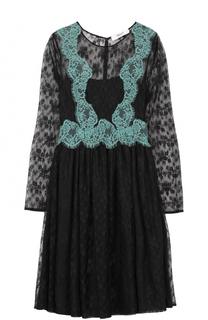 Приталенное кружевное платье с длинным рукавом Blugirl