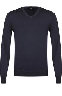 Шерстяной однотонный пуловер BOSS