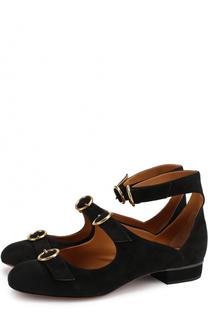 Замшевые туфли с декорированными ремешками Chloé