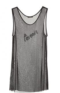 Шелковый полупрозрачный топ с вышивкой бисером Ann Demeulemeester