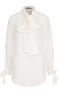 Шелковая блуза с бантами на рукавах и воротником аскот Alexander McQueen
