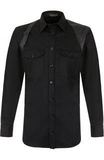 Шерстяная рубашка с кожаной отделкой Alexander McQueen