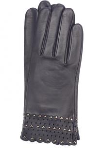 Кожаные перчатки с металлической отделкой Agnelle