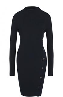 Мини-платье фактурной вязки с длинным рукавом BOSS