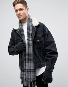 Темно-серый шарф и перчатки из овечьей шерсти в клетку тартан Glen Lossie - Серый